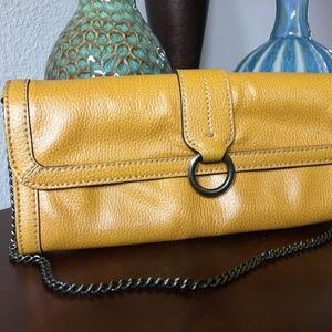 Banana Republic ochre yellow pebble leather clutch